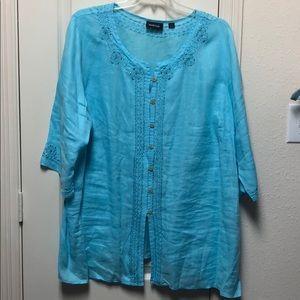 Blue shirt with embellishments